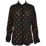 Black Long Sleeve Rainbow Mirror Dot Blouse