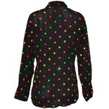 another view of Black Long Sleeve Rainbow Mirror Dot Blouse