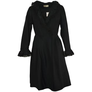 Black Long Sleeved Wrap Dress with Lace Trim by Joseph Magnin