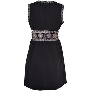 Black Mod Party Mini Dress With Silver Brocade
