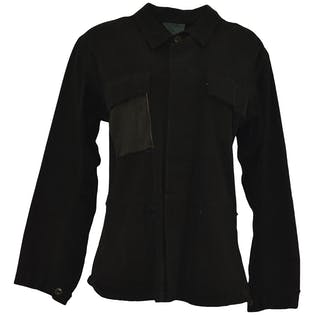 Black Military Jacket with Leather Patches