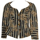 70's/80's Black Patterned Blazer with Gold Flowers by Christian LaCroix