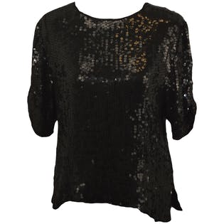 Black Sequin Short Sleeved Shirt
