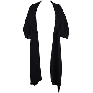 Black Wool Capelet With Front Long Shawl