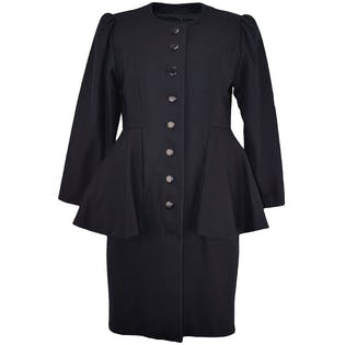 Black Wool Peplum Coat by Xin Shijie