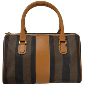 Black and Brown Striped Tote by Fendi
