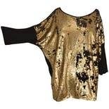 Black and Gold Reversible Sequin Dolman Sleeve Top by Ashley Stewart