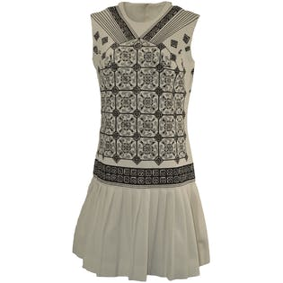 Black and White Patterned Dress with Pleated Skirt by Kia