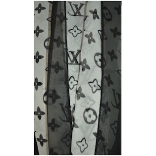 Black and White Printed Scarf by Louis Vuitton