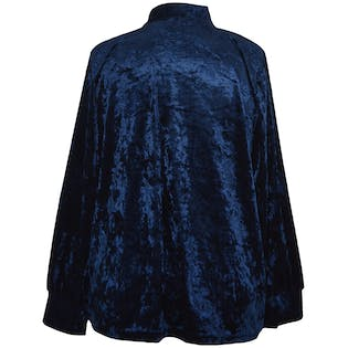 Blue Velvet Blouse with Tie Neck by Eloquii