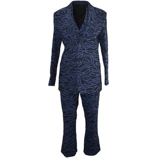 60's/70's Blue and Black Printed Three Piece Suit