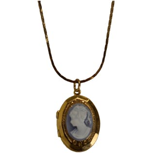 Blue and Gold Cameo Necklace