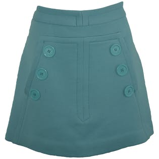 Bright Blue Skirt with Big Button Details
