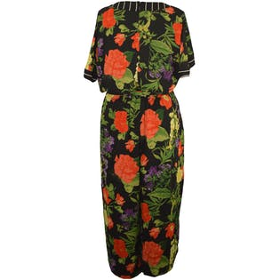 Bright Floral Jumpsuit with Striped Neckline by Lane Bryant