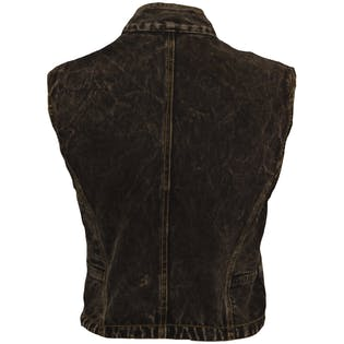 Brown Acid Wash Jean Vest by Super Lucky Cat