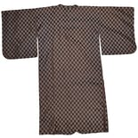 another view of 1970s Brown Checkered Kimono
