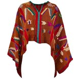 Rust & Red Embroidered Huipil Poncho
