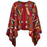 another view of Rust & Red Embroidered Huipil Poncho