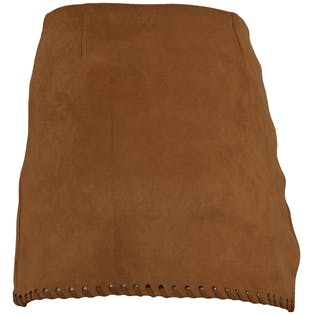 Brown Faux Suede Fitted Wrap Skirt by Haute Rogue
