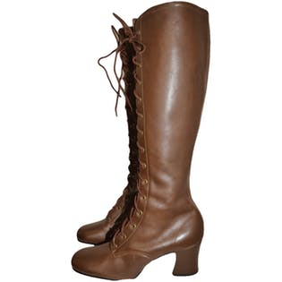Brown Leather Lace-Up Go-Go Boots