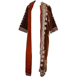 Brown Long Coat with Silver Embroidered