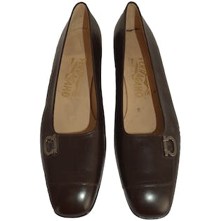 Brown Shoes with Squared Heel by Salvatore Ferragamo