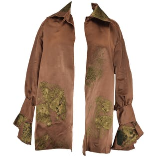 Brown Silk Jacket with Flared Sleeves by Margot Rozanska