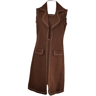 Brown Sleeveless Dress with Heavy White Stitching