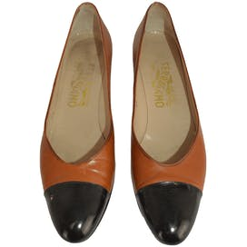Brown Wedges with Black Toe by Salvatore Ferragamo