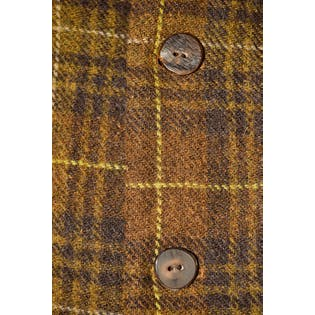 Brown and Green Plaid Wool Coat