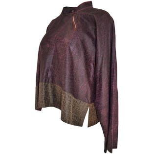 Burgundy Reptile Print Blouse by Sophie Hong