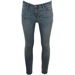 Button Up Light Wash Jeans with Frayed Hems by Free People