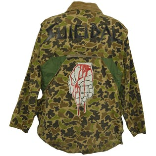 Camo Print Jacket with Graphics