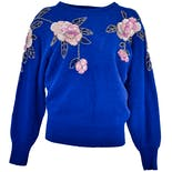 Cobalt Blue Sweater with Beaded Flowers by Kroshetta