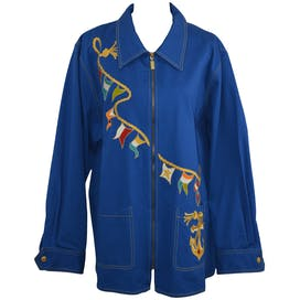 Cobalt Jacket with Nautical Embroidery by Bob Mackie