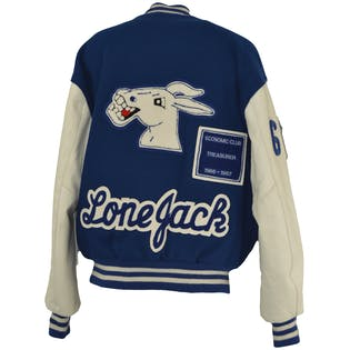 Cobalt and White Varsity Jacket by Delong