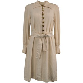 Cream Raw Silk Dress with Gold Buttons