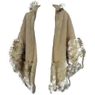 Cream Faux Fur Capelet with Hood