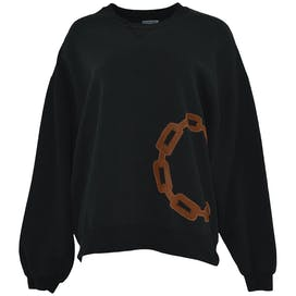 Crewneck Sweatshirt with Brown Leather Chain Patch by Jerzees