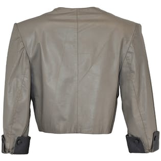 Cropped Gray Leather Jacket with Side Buttons