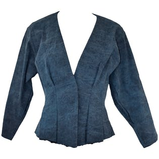 Denim Blue Peplum Blazer by Donna Kara New York