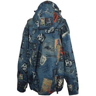 Denim Printed Ski Jacket with Skull Graphics by Grenade