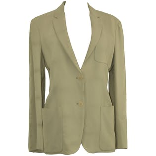 Double Buttoned Cream Blazer with Light Shoulder Pads