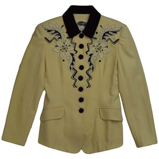 Embroidered Ivory Blazer by Nota Bene