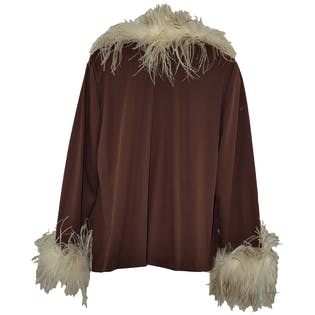 Feather Trimmed Brown Jacket by Western Costume Co.