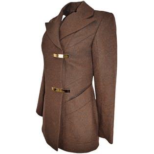 Fitted Brown Wool Blazer by Emmanuelle Khanh