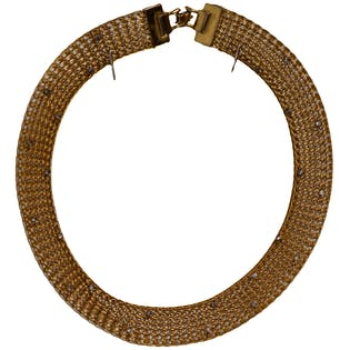 Gold Collar Necklace with Crystal Details