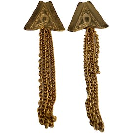 Gold Horseshoe Triangle Earrings with Chains by Fashion Earrings