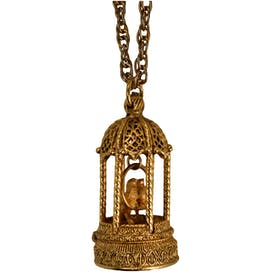 Gold Creme Perfume Bird Cage Necklace