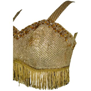 Gold Metallic Fringed and Beaded Bralette by Western Costume Co.